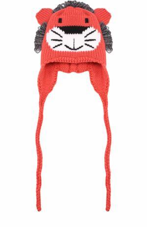 Шерстяная шапка с принтом и декором Catya. Цвет: красный