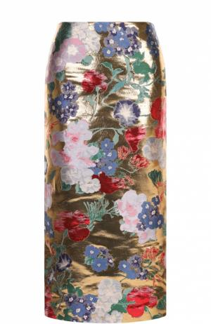 Шелковая юбка с металлизированной отделкой и цветочным принтом Valentino. Цвет: золотой