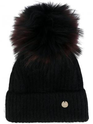 Вязаная шапка со съемным помпоном Yves Salomon. Цвет: чёрный