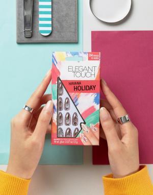 Elegant Touch Накладные ногти заостренной формы с эффектом металлик Ho. Цвет: розовый