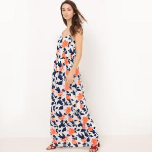 Платье длинное на тонких бретелях VILA. Цвет: темно-синий/ оранжевый