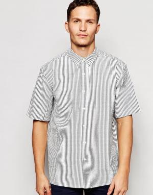 ADPT Рубашка в полоску из ткани сирсакер с короткими рукавами Co-ord. Цвет: белый