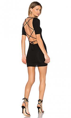 Мини платье с перекрестными шлейками сзади travis Riller & Fount. Цвет: черный