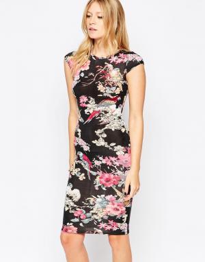 Club L Платье миди с короткими рукавами и принтом цветов попугаев. Цвет: черный