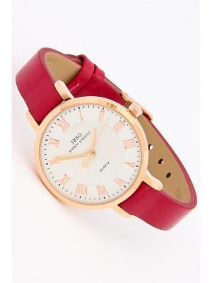 Часы на ремне IBSO. Цвет: малиновый, золотистый