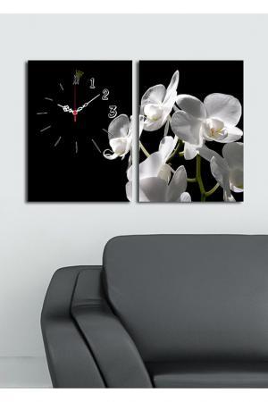 Декоративные настенные часы. Clock art. Цвет: белый