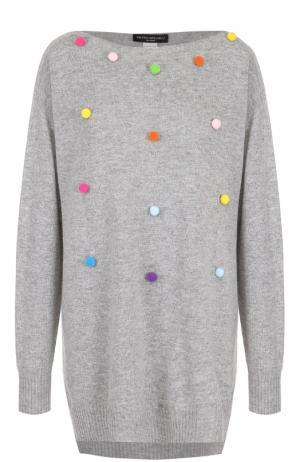 Кашемировый пуловер свободного кроя с круглым вырезом Pietro Brunelli. Цвет: серый