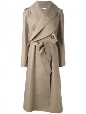 Длинное пальто с поясом JW Anderson. Цвет: телесный