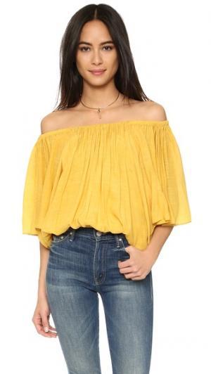 Блуза с открытыми плечами MISA. Цвет: оранжевый