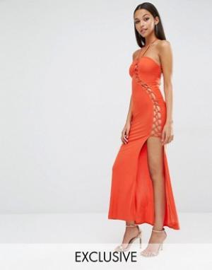 Club L Платье макси с решеткой из лямок Sexy Dare. Цвет: красный