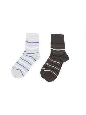 Носки, 2 пары Cascatto. Цвет: серый, коричневый, голубой