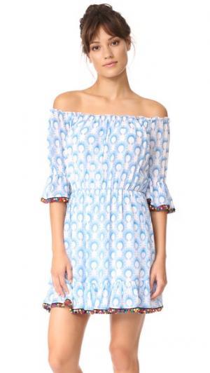 Короткое хлопковое платье с помпонами Athena Procopiou. Цвет: синий/белый