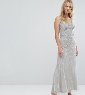 Amelia Rose Декорированное платье макси. Цвет: серый
