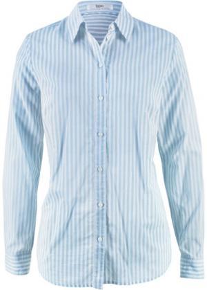Блуза-рубашка с длинными рукавами (кремовый/синяя пудра в полоску) bonprix. Цвет: кремовый/синяя пудра в полоску