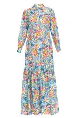 Платье из хлопка с шелком 160675 Infinee. Цвет: разноцветный