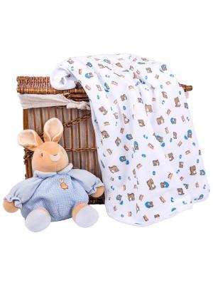Одеяло трикотажное 75х90 Динозаврики DAISY. Цвет: серо-голубой, белый, бронзовый, терракотовый