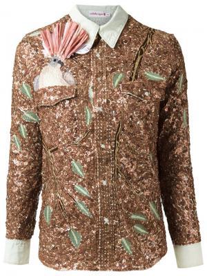 Рубашка с пайетками Isabela Capeto. Цвет: телесный