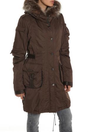 Полуприлегающее пальто с натуральным мехом Fontanelli. Цвет: коричневый