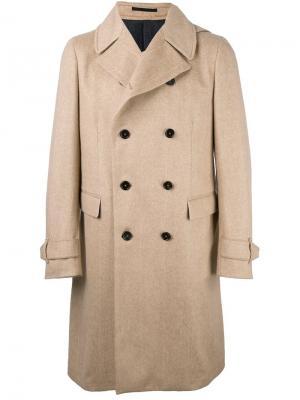 Двубортное пальто Z Zegna. Цвет: телесный