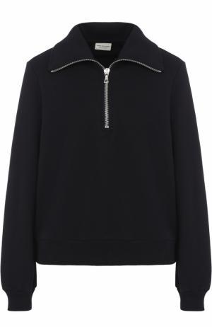 Хлопковый пуловер с отложным воротником Dries Van Noten. Цвет: темно-синий