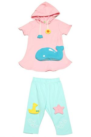 Комплект: туника, бриджи Kidly. Цвет: розово-голубой