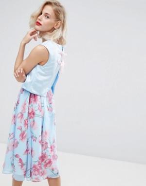 Horrockses Платье миди 2 в 1 с цветочным принтом. Цвет: мульти