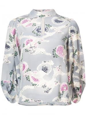 Блузка с цветочным узором и рукавами-кимоно Co. Цвет: синий
