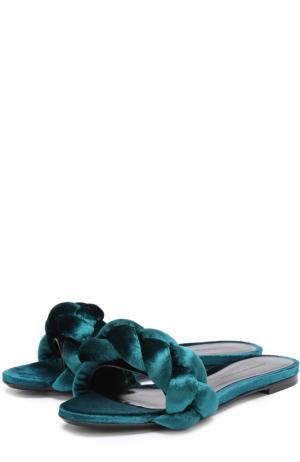 Текстильные шлепанцы с плетением Marco de Vincenzo. Цвет: темно-зеленый