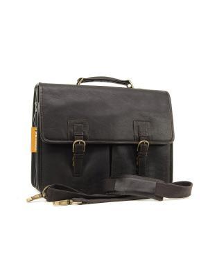 Портфель Gareth Ashwood Leather. Цвет: темно-коричневый