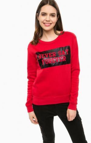 Красный свитшот с принтом ALCOTT. Цвет: красный