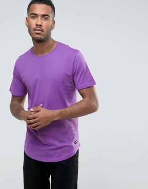 Only & Sons Удлиненная футболка с асимметричным краем. Цвет: фиолетовый