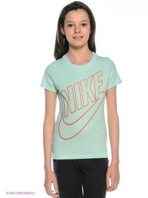 Футболка Nike. Цвет: бирюзовый