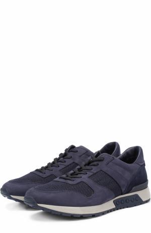 Комбинированные кроссовки на шнуровке Tod's. Цвет: темно-синий