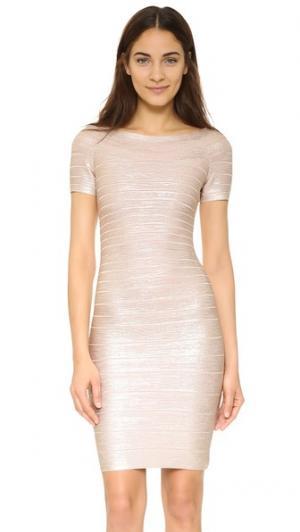 Платье Carmen с блестящей отделкой Herve Leger. Цвет: розовое золото