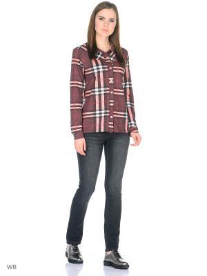 Рубашка Magwear. Цвет: темно-коричневый, красный, светло-коричневый