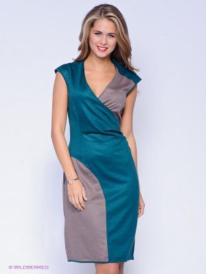 Платье SUGARLIFE. Цвет: зеленый, темно-бежевый