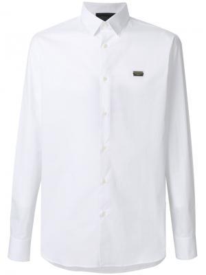 Рубашка с принтом черепа из кристаллов Philipp Plein. Цвет: белый