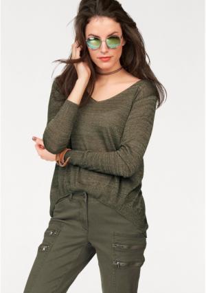 Пуловер Aniston. Цвет: оливково-зеленый/золотистый