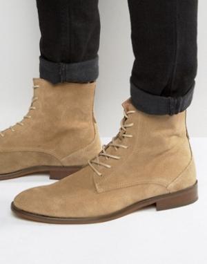 Zign Замшевые ботинки на шнуровке. Цвет: бежевый