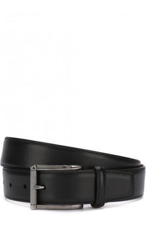Кожаный ремень с металлической пряжкой Santoni. Цвет: черный