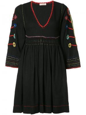 Платье мини с вышивкой Ulla Johnson. Цвет: синий