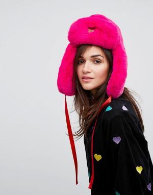 Lazy Oaf Розовая шапка-ушанка из искусственного меха - Розовый 6502336
