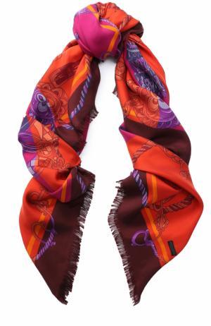 Шелковый платок с принтом Franco Ferrari. Цвет: фуксия