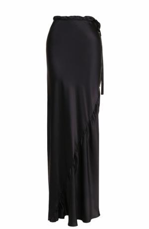 Шелковая юбка-макси с эластичным поясом Ann Demeulemeester. Цвет: черный