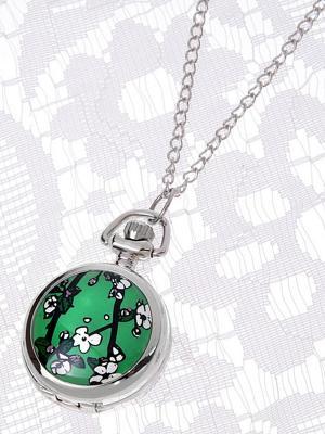 Кулон-часы Сакура на зеленом Mitya Veselkov. Цвет: серебристый