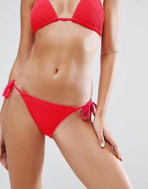 ASOS Комбинируемые бразильские плавки-бикини с завязками по бокам. Цвет: красный