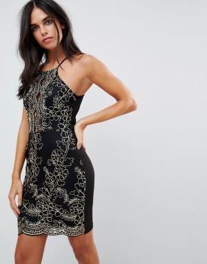 Parisian Платье металлик с вышивкой. Цвет: черный
