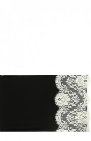 Шелковый платок с кружевом Dolce & Gabbana. Цвет: черно-белый