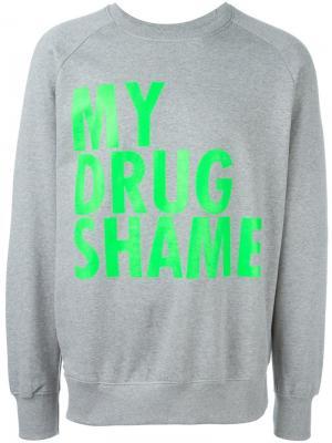 Толстовка My Drug Shame Jeremy Deller. Цвет: серый