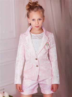 Жакардовый костюм: жакет и шорты babyAngel. Цвет: розовый